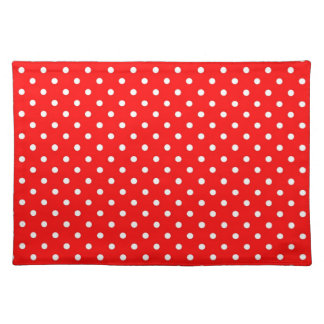 Placemat Hot Red Polka Dot