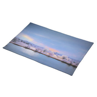 Placemat, Icy Pond and Willows in Pastel Colors Cloth Place Mat
