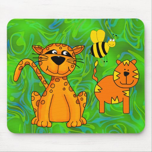 Placemat Kids Cheetah Tiger Bee Mouse Pads