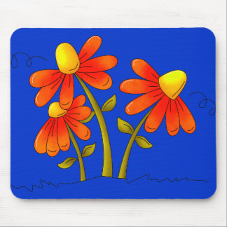 Placemat Kids Girl Red Flowers On Blue Mouse Pad