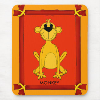 Placemat Monkey in Red Yellow Frame Mousepad