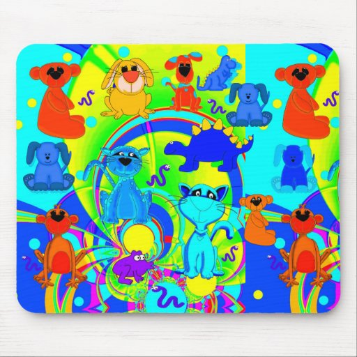 Placemat Mousepad Boys Kid's Animals Collage 3 Mousepads