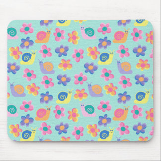 Placemat Mousepad Kid's Girls Little Flower Snails Mousepads