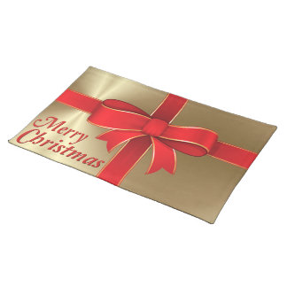Placemat - Red Bow & Ribbon on Gold Cloth Place Mat