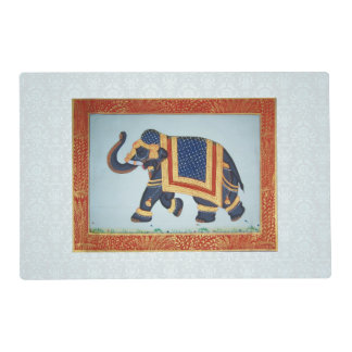 Placemat white grey blue red gold Elephant
