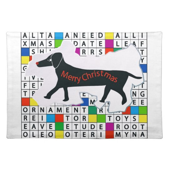 Placemat with Dachshund Crossword & Xmas Theme