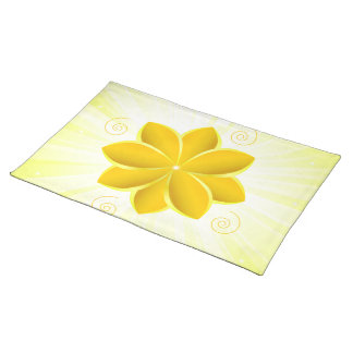 Placemat with gold flower