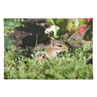placemat with photo of cute chipmunk