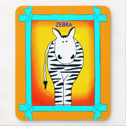 Placemat Zebra in Frame Yellow Mousepad Mouse Pad