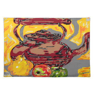 """Placemats  20"""" x 14"""" Tea Kettle with Fruit"""