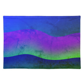 PLACEMATS Cloth Colorful Modern Art Wave Design