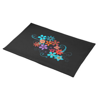 Placemats Colorful Flowers Black Background