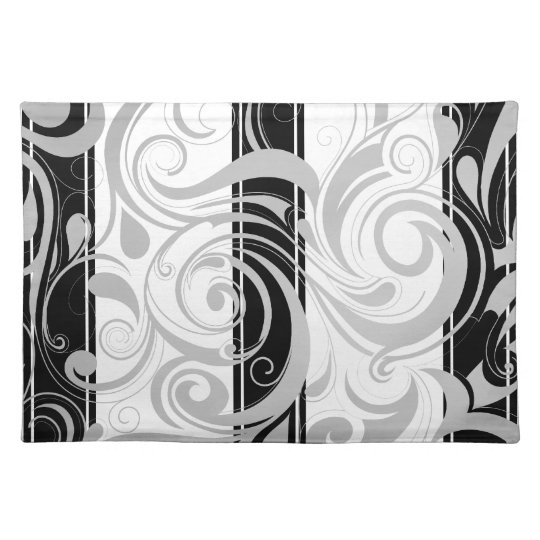 Placemats Swirl Floral Grey Black White