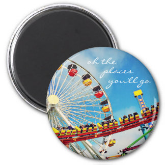 """Places"" ferris wheel roller coaster photo magnet"