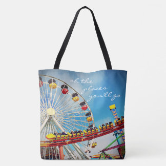 """Places"" quote ferris wheel coaster photo tote bag"
