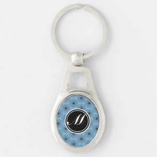 Placid Blue Star Kaleidoscope Silver-Colored Oval Key Ring