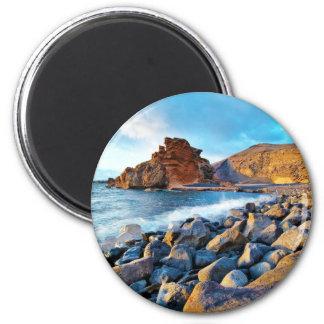 Plage de El Golfo Plages de Lanzarote Espagne 6 Cm Round Magnet