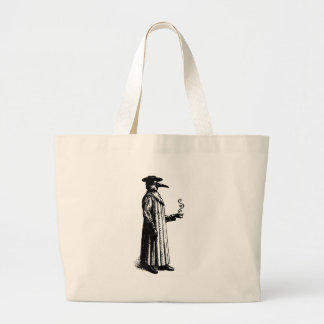 Plague Doctor with a Hot Cuppa Large Tote Bag