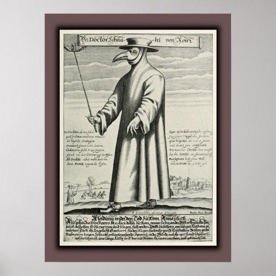 Plague Doctor's Beak Costume Rome Poster