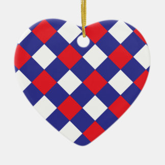 Plaid 1 Red White Blue Ceramic Heart Decoration