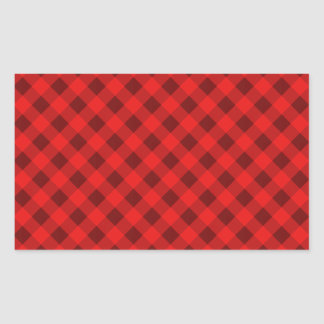 Plaid 2 Red Rectangular Sticker