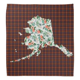 Plaid and Floral Alaska State bandana