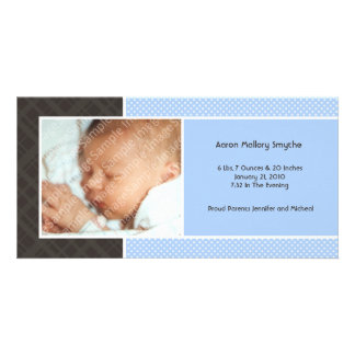 Plaid and Micro Dots Blue New Baby Photo Cards