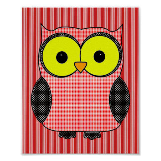 Plaid and Polka Dot Owl Poster