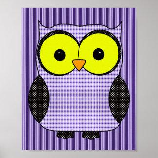 Plaid and Polka Dot Owl V2 Print
