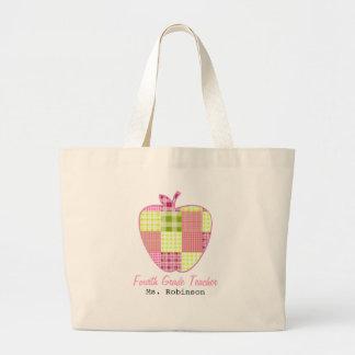 Plaid Apple Fourth Grade Teacher Canvas Bag