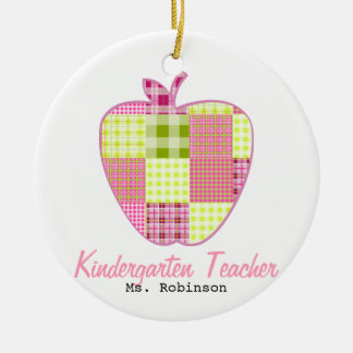 Plaid Apple Kindergarten Teacher Round Ceramic Decoration