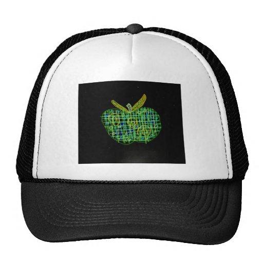 plaid apple on black trucker hat
