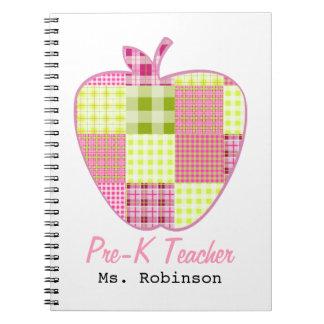 Plaid Apple Pre-K Teacher Spiral Note Books