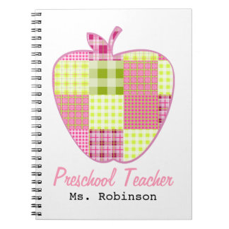 Plaid Apple Preschool Teacher Spiral Notebooks
