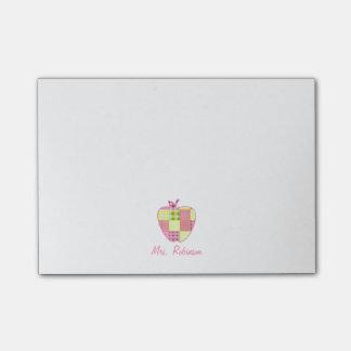 Plaid Apple Teacher Post-It Note