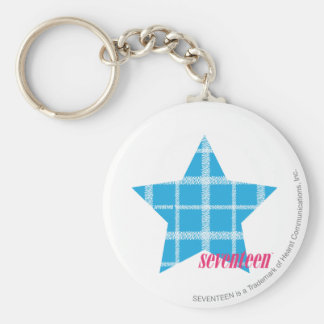 Plaid Aqua 3 Key Ring