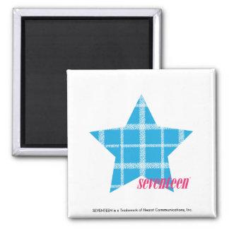 Plaid Aqua 3 Square Magnet