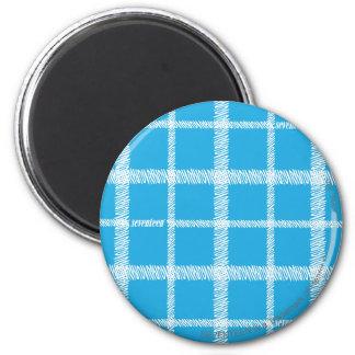 Plaid Aqua 6 Cm Round Magnet