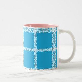 Plaid Aqua Two-Tone Coffee Mug