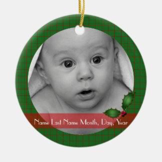 Plaid Baby's Photo Ornament