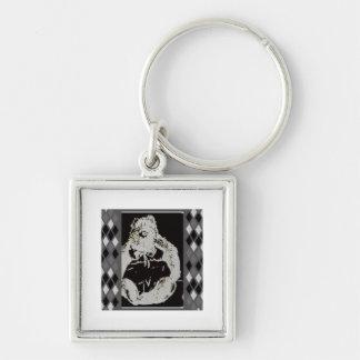 Plaid Bear Silver-Colored Square Key Ring