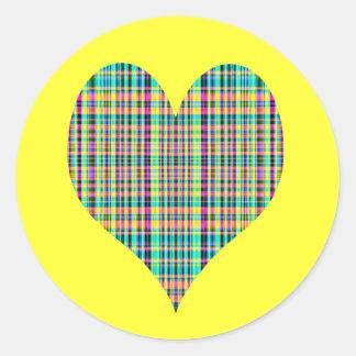 plaid bheart round stickers