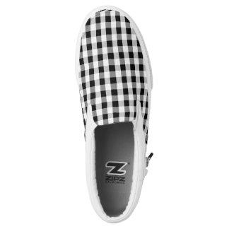 Plaid Black White Checkered Slip-On Shoes