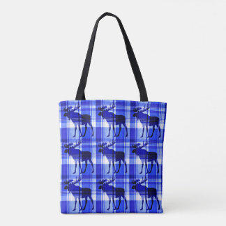 Plaid blue moose pattern print all over tote bag