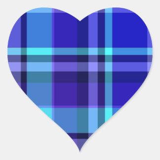 Plaid Blue Purple Heart Sticker