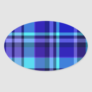 Plaid Blue Purple Oval Sticker