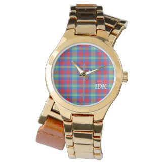 PLAID | bright red, green and blue Wrist Watch