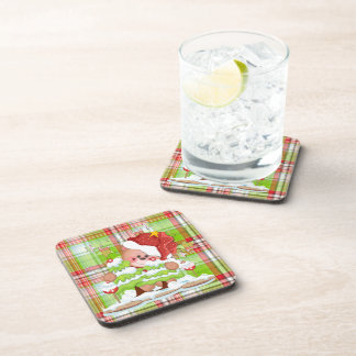 Plaid Christmas Bear Drink Coaster
