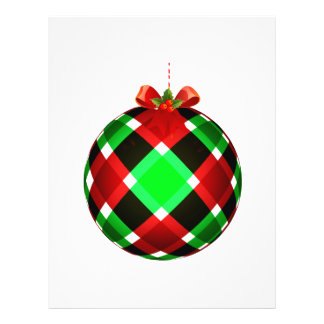 Plaid Christmas Ornament w/Red Bow Flyer Design