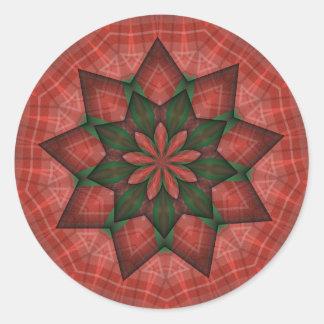 Plaid Christmas Star Round Sticker